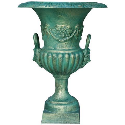 Vaso Con Manici In Fusione Di Ghisa Finitura Verde Bronzato Anticato Diam. 60xh75 Cm
