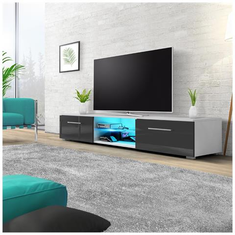 Image of Edith - Mobile Porta Tv / Supporto Tv A Schermo Piatto (140 Cm, Bianco Opaco / Grigio Lucido Con Luci Led Blu)