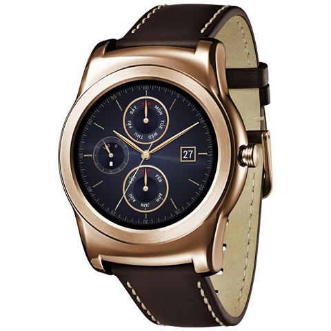 "LG W150 Watch Urbane Gold Display P-Oled 1.3"" Cassa in acciaio e cinturino in pelle, cardiofrequenzimetro - Android Wear"