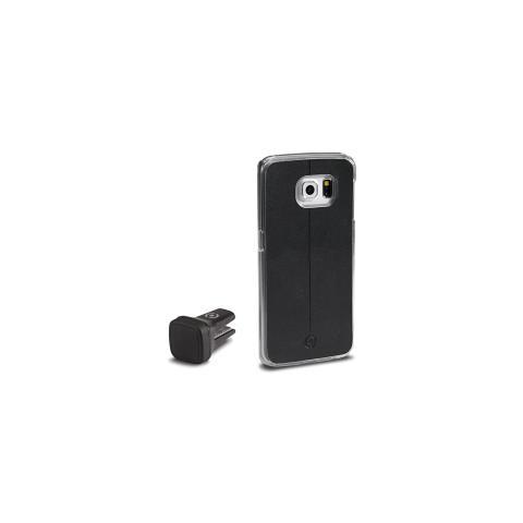 CELLY Kit Cover Ghost per Galaxy S6 Edge + mini-supporto Auto - Nero