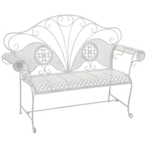 Panchina Da Giardino Stile Romantico Cp504 58x140x105cm Colore Bianco Antico