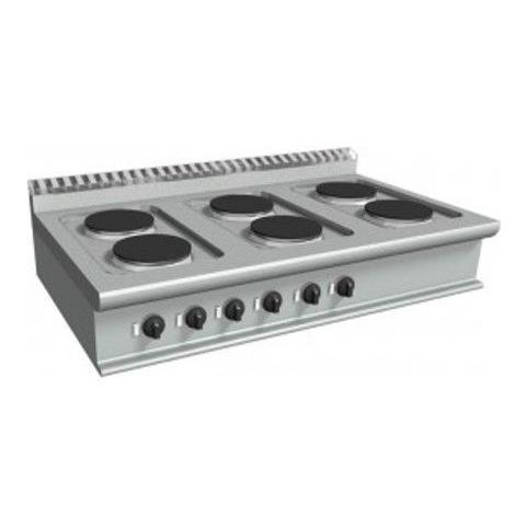 Cucina elettrica con 6 piastre tonde - Dim. cm. 120x70x27h