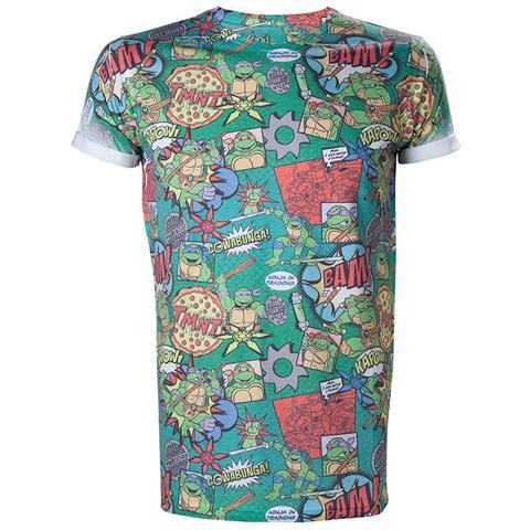 BIOWORLD Teenage Mutant Ninja Turtles - Print All Over Green (T-Shirt Unisex Tg. L)