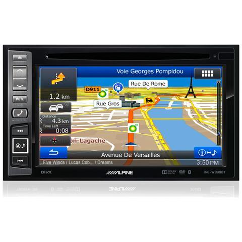 "ALPINE Sintomonitor DVD INE-W990BT Con Sistema di Navigazione Display 6.1"" 4x50Watt Supporo MP3 / WMA / DivX USB / AUX Bluetooth"
