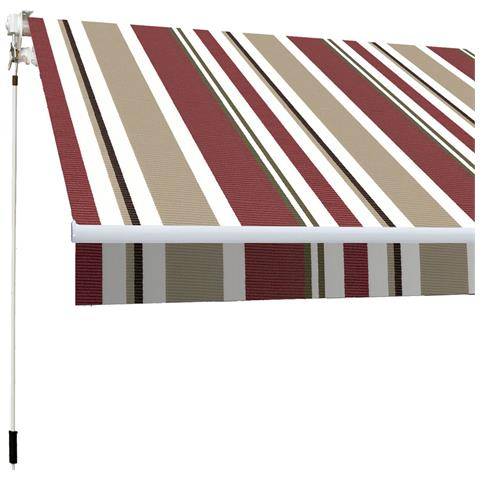 Btk420024-e Tenda Da Veranda Struttura In Alluminio 4x2,5 M Beige / bordeaux Avvolgibile