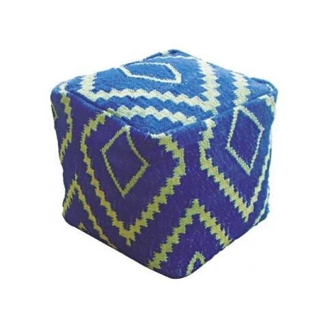 Stones Pouf Fatto A Mano Mod. Bean Bag Stool 023 di Colore Blu E Verde In Cotone