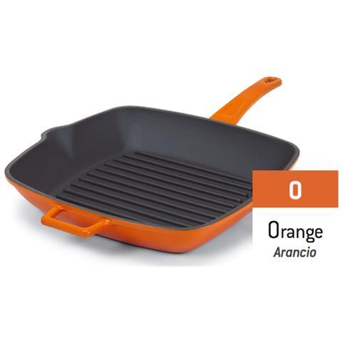 AGNELLI Griglia Bicolore In Ghisa Con Maniglie Arancio - Misura Cm 26x26