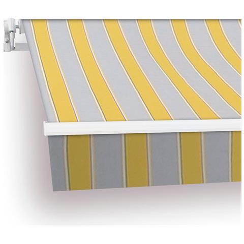Btk420001-e Tenda Da Veranda Struttura In Alluminio 4x2,5 M Giallo / Marrone / Bianco Avvolgibile