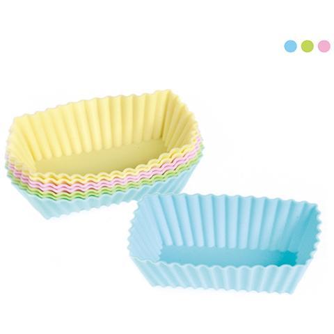 Habi Set 3 Confezione 8 Pirottini Rettangolari 8x4 Cm Silicone Pastello Pasticceria