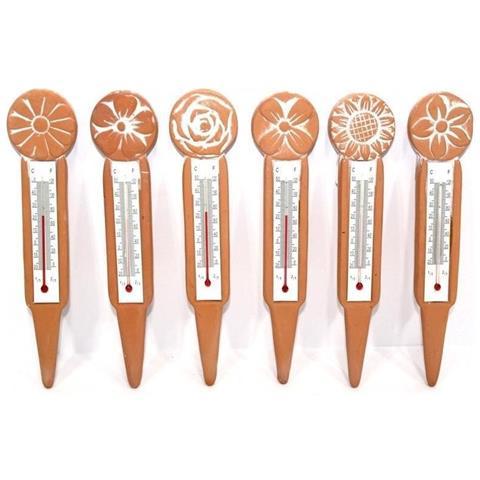 Termometro In Terracotta Per Giardino E Casa Misura Temperatura Cm. 14x13x30