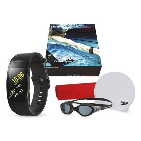 SAMSUNG Smartwatch Gear Fit2 Pro Taglia L Impermeabile Colore Nero + Kit Speedo