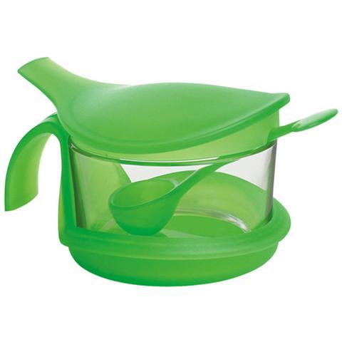 Contenitore in vetro per formaggio o zucchero ml 350 colori assortiti