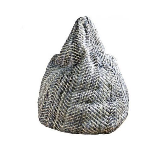 Stones Sacco Fatto A Mano Mod. Bean Bag 1 di Colore Naturale E Blu In Ciniglia E Cotone