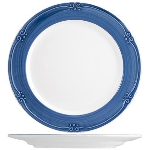 H&H Piatto Ceramica Siena Blue Piano Cm25 Stoviglie