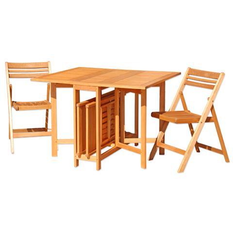 Set Tavolo per Esterno in Legno di Eucalypto con 4 Sedie