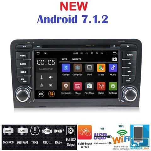 Image of Android 7.1 Gps Dvd Usb Sd Wi-fi Bluetooth Autoradio 2 Din Navigatore Audi A3 / Audi S3 2002, 2003, 2004, 2005, 2006, 2007, 2008, 2009, 2010, 2011