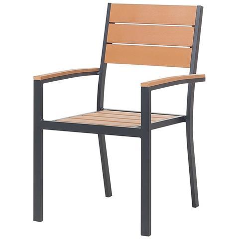 Sedie In Alluminio E Legno.Beliani Sedia Da Giardino Marrone In Alluminio E Legno Sintetico