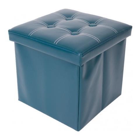 Mobili Rebecca Pouf Poggiapiedi Cubo Sgabello Contenitore Verde Eco Pelle