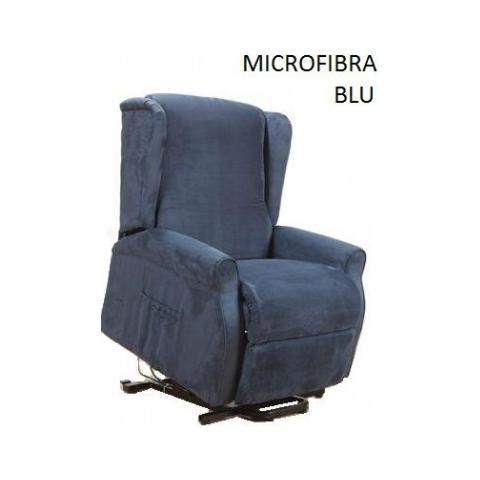 Casa ABC Poltrona Alessia In Microfibra Blu Con Funzione di Alzata In Piedi Elettrica
