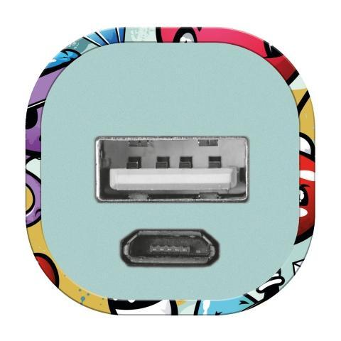 TRUST Graffiti, USB, Ciano, Arancione, Porpora, Rosso, Micro-USB, Smartphone, Tablet, Micro-USB, Status