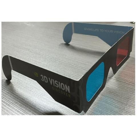 Vision Occhiali 3d Anaglifici Confezione Da 20 Paia. Versione Rosso Blu / Ciano Magenta. In Cartone Grigio. Per Vedere Film In 3d Anaglifico Su Tv Cinema Pc