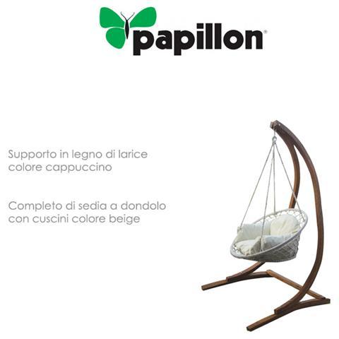 Dondolo singolo da giardino in legno di larice con cuscini mod. Ortigia
