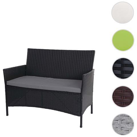 Serie Halden Per L'esterno Divano Sofa 2 Posti Polyrattan Nero Con Cuscino Antracite