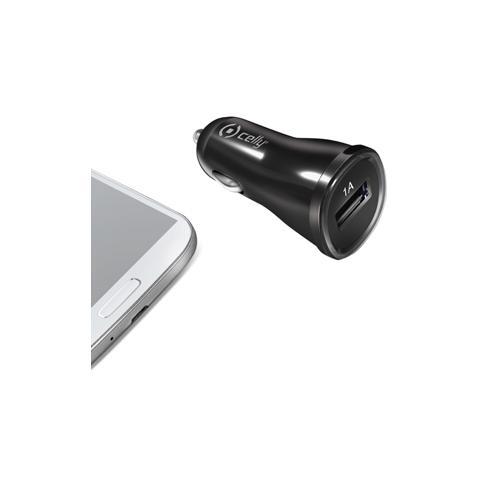CELLY Caricabatteria da auto 12/24V con porta USB 1A - Nero