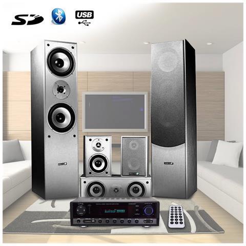 Image of 5 Altoparlanti 850w Home Cinema Amp 2x50w + 3x20w
