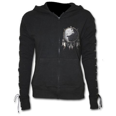 SPIRAL Wolf Chi Laceup Full Zip Glitter Hoody Black (Felpa Unisex Tg. XL)