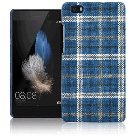 FONEX Tartan Cover Rigida in Tessuto con Texture Scozzese per Huawei P8 Lite Colore Blu