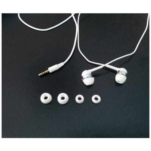 LINK Auricolari Stereo Con 4 Cuscinetti Di Ricambio Colore Bianco