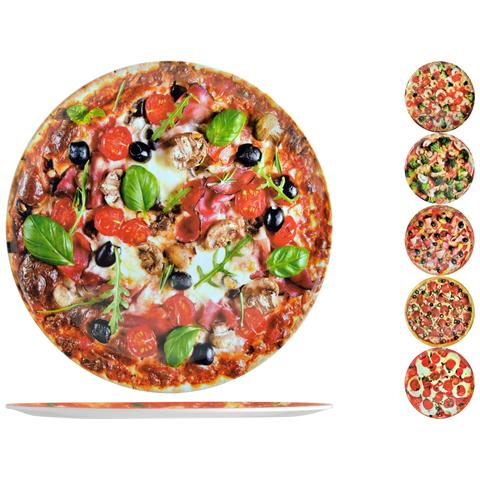 Set 6 Piatti Pizza Melamina Tondo Ass Cm33 Stoviglie