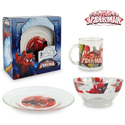 Spiderman Sm7402 Set Da Colazione Con Scodella Tazza E Piattino In Vetro