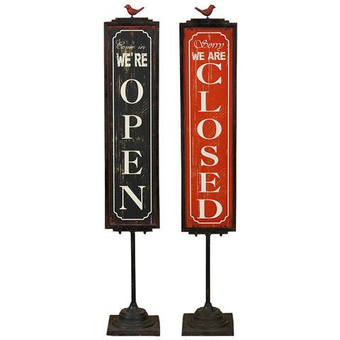 Cartello Bifacciale ''open / closed'' In Ferro L21xpr20xh125 Cm