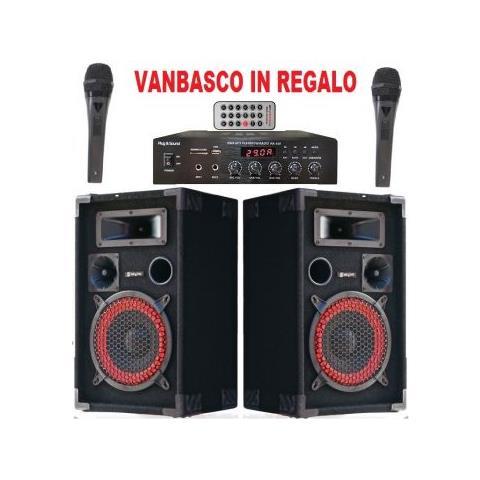 SHARD-STAR Sistema Impianto Audio Karaoke 2 Casse + Amplificatore + 2 Mic + Cavi