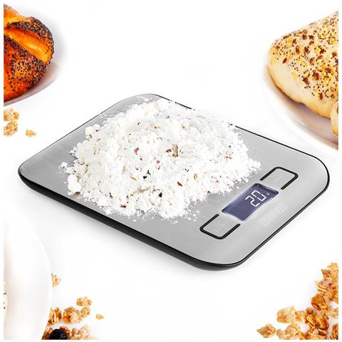 Ks1007 Bilancia Da Cucina Digitale Ultrasottile - Portata 1g / 5 Kg - Alta Precisione - Display Lcd Retro Illuminato - Funzione Tara – Argento.