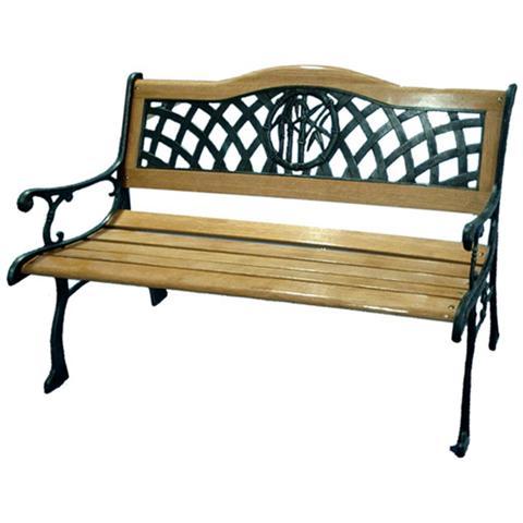 Panchina con struttura in ghisa verniciata a polveri e legno di eucalipto