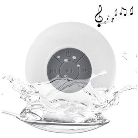 NetworkShop Cassa Speaker Bluetooth Con Mic Waterproof Ipx4 Bianco Per Iphone Smartphone
