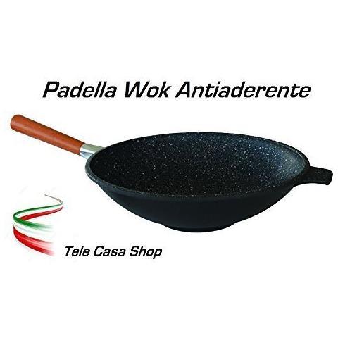 Padella Saltapasta Wok Diametro Cm. 32 In Alluminio Con Rivestimento Antiaderente In Pietra Lavica Ceramicata Con Manico Smontabile - Made In Italy