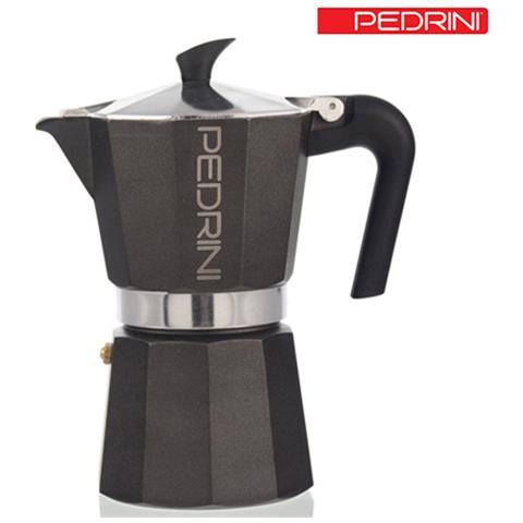 Caffettiera 3 Tazze Moka Kaffettiera In Alluminio Antracite Ergonomica Pedrini