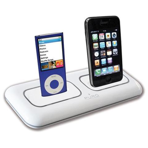 PURO Base di Ricarica con 2 slot per iPod / iPhone - Bianco