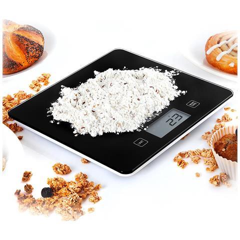 Ks875 - Bilancia Da Cucina - Portata 1g / 5 Kg - Display Digitale - Funzione Tara – Superficie / Piattaforma In Vetro Nero
