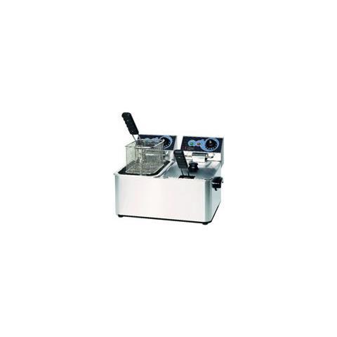 Friggitrice Elettrica Banco Professionale 4+4 Litri Cm 48x38x31 Rs3157