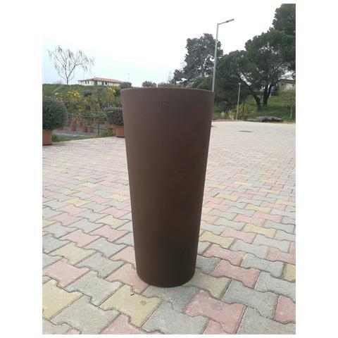 Vaso Fioriera Tondo In Resina Alto 85 Cm Colore Bronzo Cache-pot Genesis Diam. 38