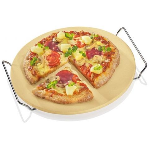 Piastra Pietra Refrattaria Tonda Da Forno Per Pizza 30 Cm Con Supporto In Metallo Kuchenprofi
