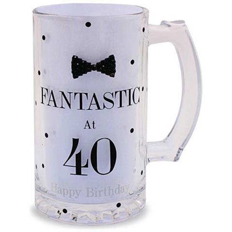 Lesser Pavey Boccale Da Birra A Pois Per Compleanno (scritte In Inglese) (taglia Unica) (fantastic At 40)