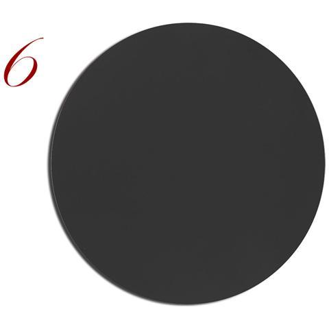 Tovagliette Tonde Pelle Lavabile Pantone Nero 6Pz