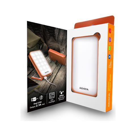 ADATA Batteria Portatile D8000L Ioni di Litio 8000mAh Colore Bianco / Arancione