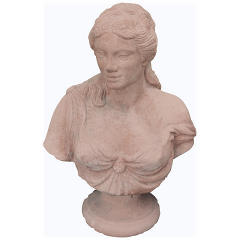 Busto Di Pompea Invecchiato In Terracotta Toscana L45xpr30xh65 Cm.